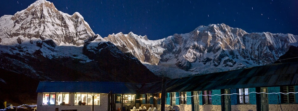 Moonlight strikes Annapurna
